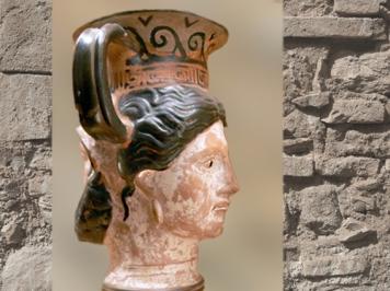 D'après un canthare janiforme (double visage), vase à boire, céramique peinte, Ve siècle avjc, art Étrusque, Italie. (Marsailly/Blogostelle)