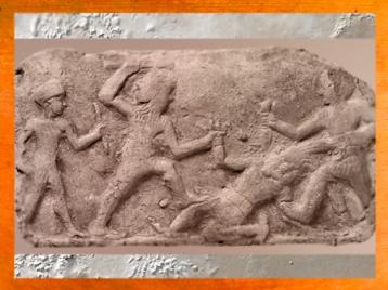 D'après Gilgamesh et Enkidu, qui tuent Humbaba, deuxième millénaire avjc, Mésopotamie. (Marsailly/Blogostelle.)