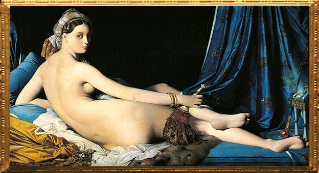 D'après La Grande Odalisque, Jean-Auguste-Dominique Ingres, 1814 apjc. (Marsailly/Blogostelle.)