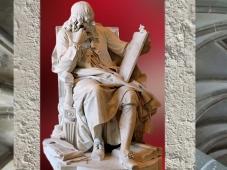 D'après le portrait sculpté du philosophe Blaise Pascal, par Augustin Pajou, 1785, France. (Marsailly/Blogostelle.)