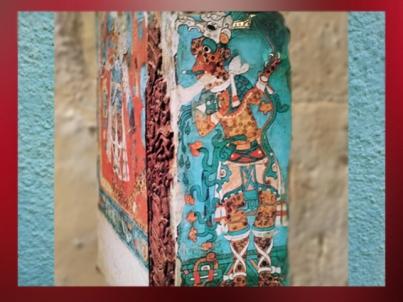 D'après l'Homme-Jaguar, peinture murale, site de Cacaxtla Puebla, époque classique Maya, vers 600-900 apjc. (Marsailly/Blogostelle)