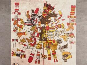 D'après Mictlantecuhtli, déité de l'Enfer et de la Mort, et Ehecatl dieu créateur, 1500 apjc, codex Borgia. (Marsailly/Blogostelle)