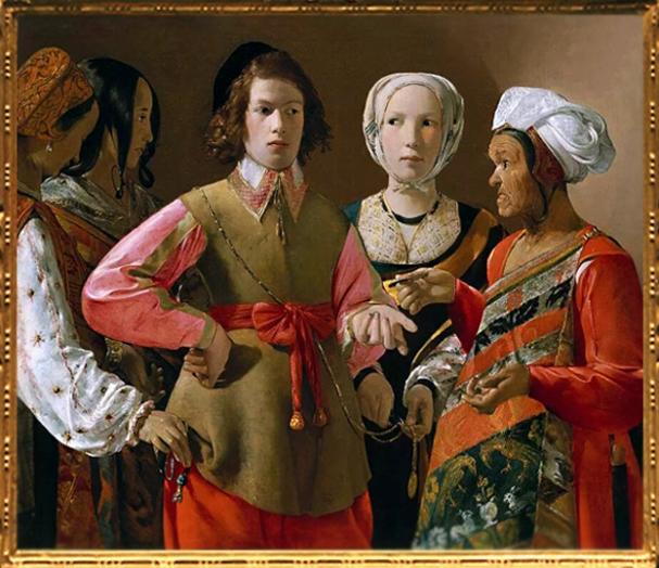 D'après La Diseuse de Bonne Aventure, Georges de La Tour, vers 1635, apjc, France. (Marsailly/Blogostelle)