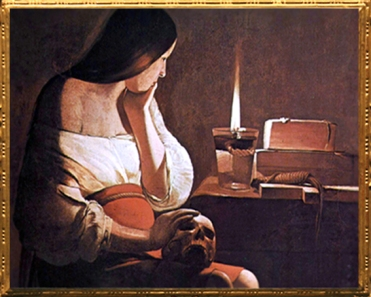 D'après La Madeleine à la Veilleuse, Georges de La Tour, vers 1640 - 1645 apjc, France. (Marsailly/Blogostelle)