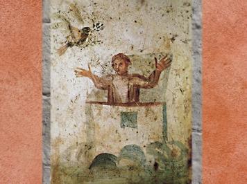 D'après Noé, l'Arche et la Colombe, IVe siècle, catacombe des saints Pierre et Marcellin, Rome, art paléochrétien. (Marsailly/Blogostelle)