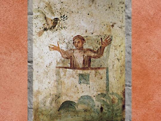 D'après Noé, l'Arche et la Colombe, IVe siècle apjc catacombe des saints Pierre et Marcellin, Rome, art paléochrétien. (Marsailly/Blogostelle)
