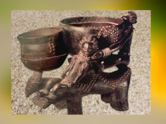 D'après un double vase sacré, destiné à la pratique de la Divination, art Luba, Zaire, Afrique. (Marsailly/Blogostelle.)