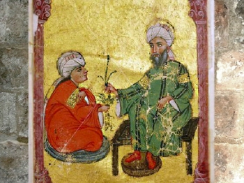 D'aprèsune enluminure, Dioscoride et un élève, Materia medica, de Yousouf al Mawsili, 1228 apjc, Mossoul, Irak, art Musulman. (Marsailly/Blogostelle)