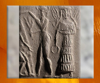 D'après la déesse aux épis, Mésopotamie,  sommaire, le Sacré. (Marsailly/Blogostelle)