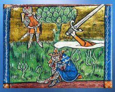 D'après Excalibur, à la mort d'Arthur, le chevalier Girflet ou Jaufré rend l'épée à la Dame du Lac, Roman du Saint Graal, 1316 apjc. (Marsailly/Blogostelle)