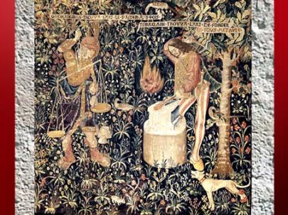 D'après Tubalcain et Giohargus, l'art de forger, tapisserie, laine, début XVIe siècle, Pays-Bas du Sud. (Marsailly/Blogostelle)