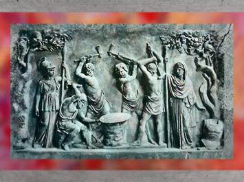 D'après un bas-relief antique,Héphaïstos et les Cyclopes forgent le bouclier d'Achille.(Marsailly/Blogostelle)