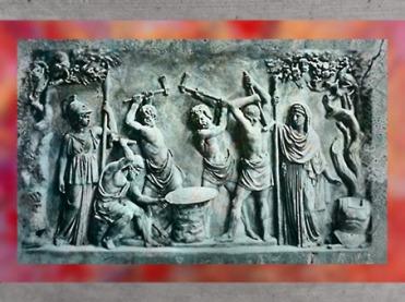 D'après Héphaïstos et les Cyclopes qui forgent le bouclier d'Achille, avec les déesses Athéna (à gauche) et Héra, bas-relief antique, Rome.(Marsailly/Blogostelle)