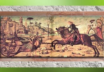 D'après Saint Georges armé de sa lance et le dragon, Carpaccio Vittore, début XVe siècle apjc, Italie. (Marsailly/Blogostelle)