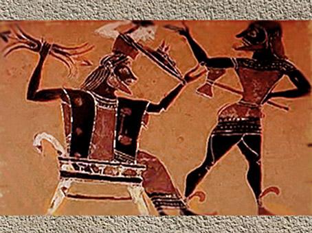 D'après la Naissance de la déesse Athéna, céramique à figures noires, VIIe-VIe siècle avjc, Grèce antique. (Marsailly/Blogostelle)