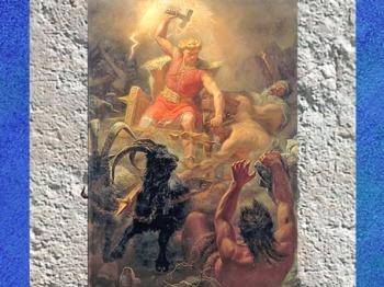 D'après le dieu nordique Thôrr et sa hache- marteau, La bataille contre les Géants, Mårten Eskil Winge, 1872 , XIXe siècle. (Marsailly/Blogostelle)