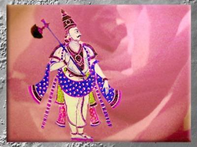 D'après une représentation de Parashu-Râma, armé de sa hache, art de l'Inde. (Marsailly/Blogostelle)