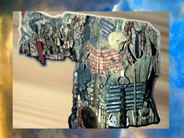 D'après un costume de chaman, couverts d'objets en fer, protecteurs et rituels. (Marsailly/Blogostelle)