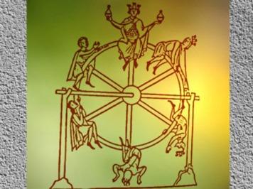 D'après l'iconographie médiévale de la Roue de la Fortune ou Roue de l'Existence, XIIe siècle, France. (Marsailly/Blogostelle)