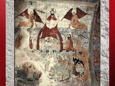 D'après une fresque du Jugement Dernier, église Sainte Anne, XIIe siècle, art roman, Cazeaux-de-Larboust, Midi-Pyrénées, France. (Marsailly/Blogostelle)