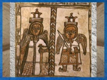 D'après l'iconographie médiévale, deux anges armés et couronnés. (Marsailly/Blogostelle)