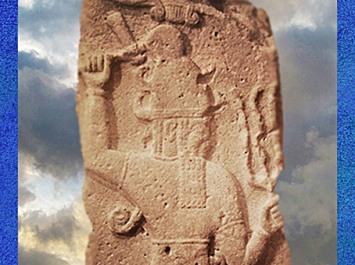 D'après le dieu Hittite de l'Orage et sa Hache, équivalent de Baal, vers 860 avjc, Syrie, Orient ancien. (Marsailly/Blogostelle)