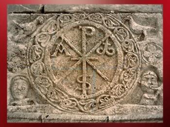 D'après le Chrisme, relief sculpté, église de Coll en Catalogne. (Marsailly/Blogostelle)