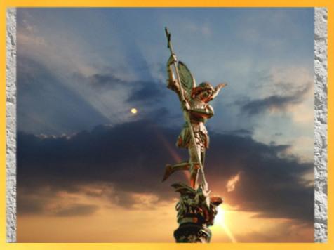 D'après l'archange Saint Michel, Emmanuel Fremiet, XIXe siècle apjc, Mont Saint Michel, Normandie, France. (Marsailly/Blogostelle)