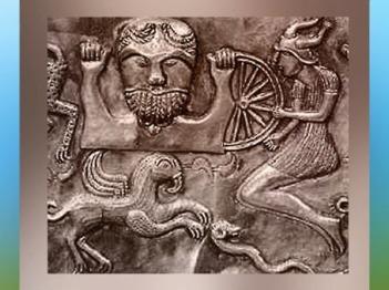 D'après une déité à la Roue représentée sur le chaudron de Gundestrup, Ier siècle avjc, période le l'âge du Fer, art celte, Danemark. (Marsailly/Blogostelle)