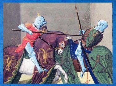 D'après Gauvain, Roman de Lancelot, 1475 apjc, manuscrit de Jacques d'Armagnac, duc de Nemours, atelier d'Evrard d'Espinques, Ahun, France. (Marsailly/Blogostelle)