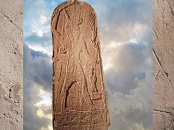 D'après le dieu de l'Orage, Baal, avec Hache et Foudre, et le roi, Ugarit, milieu IIe millénaire avjc, Syrie, Orient ancien. (Marsailly/Blogostelle)