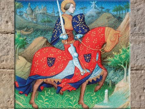 D'après Saint Victor armé de son épée,parchemin, Maître de la Mazarine, XVe siècle apjc. (Marsailly/Blogostelle)
