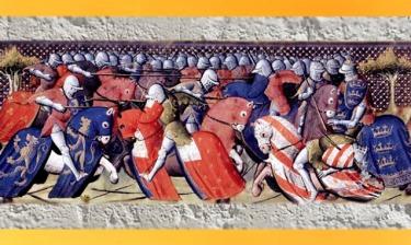 D'après un tournoi de Camelot, Lancelot du Lac, Roman du XIIIe siècle, Manuscrit copié début du XVe siècle, Paris. (Marsailly/Blogostelle)