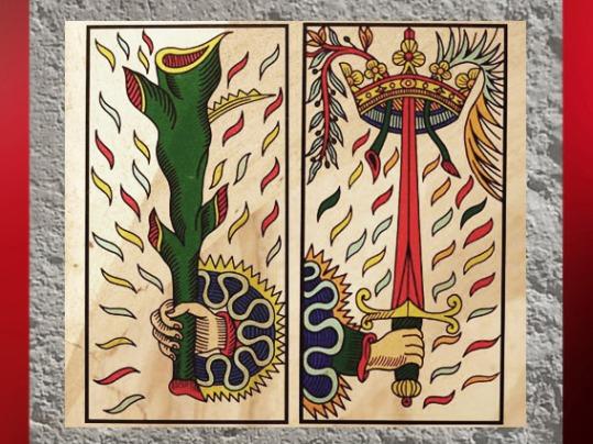 D'après l'Epée, associée à l'Air, et le Bâton au Feu, dans le Tarot de Marseille. (Marsailly/Blogostelle)
