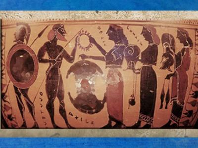 D'après les armes d'Achille, céramique attique à figures noires, vers VIe avjc, Grèce antique. (Marsailly/Blogostelle)