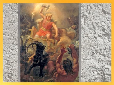 D'après le dieu nordique Thôrr et son marteau-hache, La bataille contre les Géants, Mårten Eskil Winge, 1872 , XIXe siècle. (Marsailly/Blogostelle)