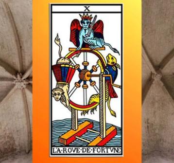 D'après la lame X La Roue de Fortune du Tarot de Marseille. (Marsailly/Blogostelle)