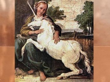D'après une Licorne, Le Dominiquin (Domenico Zampieri), fresque, vers 1604-1605 apjc, palais Farnèse, Rome. (Marsailly/Blogostelle)