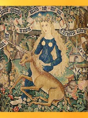 D'après une Jeune femme et Licorne, vers 1500–1510 apjc, panneau de coussin, art médiéval. (Marsailly/Blogostelle)