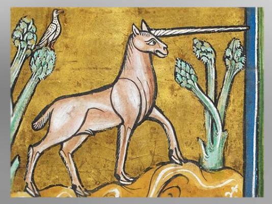 D'après une Licorne, bestiaire de Rochester, XIIIe siècle, art médiéval. (Marsailly/Blogostelle)