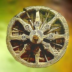 D'après la grande roue du temple de Sûrya, dieu Soleil, Konarak, XIIIe siècle, Orissa, Inde ancienne. (Marsailly/Blogostelle)