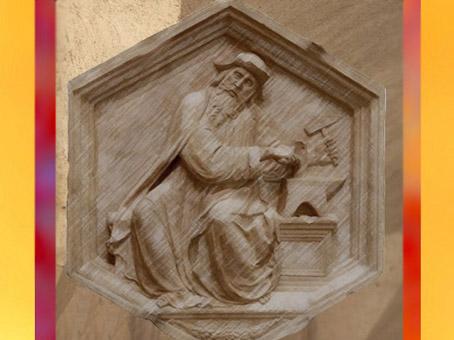 D'après Tubalcain, forgeron biblique, sculpture de Luca di Simone della Robbia, L'Harmonie, Italie, XVe siècle apjc. (Marsailly/Blogostelle)
