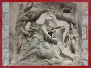 D'après le dieu d'origine perse,Mithra, sacrifice du taureau,IIe siècle apjc (collection Borghèse, Louvre), époque romaine. (Marsailly/Blogostelle)