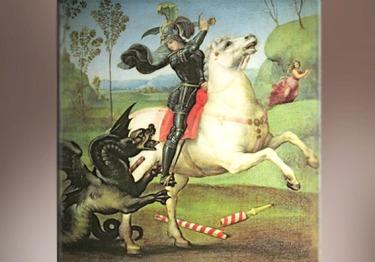 D'après Saint Georges armé de son épée, qui terrasse le dragon, Raphaël, Renaissance Italienne, XVIe siècle apjc. (Marsailly/Blogostelle)