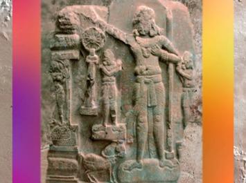 D'après Chakravartin Souverain Universel, Ier siècle avjc-Ier siècle apjc, Amarâvatî, Inde ancienne. (Marsailly/Blogostelle)