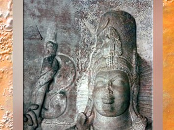 D'après le dieu hindou Shiva et sa hache, Badami, Karnataka, dynastie des Chalukya, VIe-VIIIe siècle apjc, Inde ancienne. (Marsailly/Blogostelle)