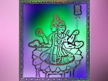D'après une image de Hari-Hara : Vishnu arborant sa conque et son chakra, uni à Çiva qui brandit son trident. (Marsailly/Blogostelle.)
