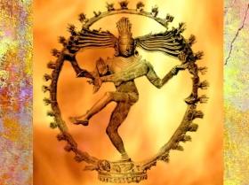D'après la danse cosmique du dieu Çiva Natarâja dans sa Roue de Feu, art Chola, X-XIe siècle, Inde. (Marsailly/Bogostelle)