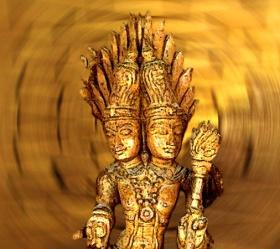 D'après une figuration du dieu Agni sur un élément décoratif, XVIIe-XVIIIe siècle, Tamil Nâdu, Inde du sud. (Marsailly/Blogostelle.)