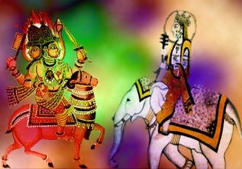 D'après des images des divinités védiques Indra, dieu de l'Orage, et Agni, dieu du Feu, Inde ancienne.(Marsailly/Blogostelle)